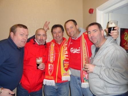 Members enjoying a pint to celebrate the big victory