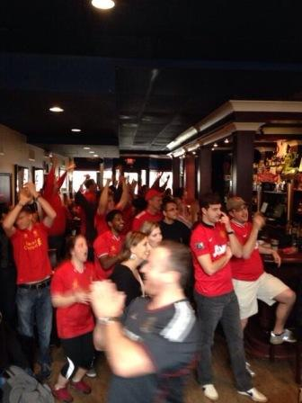 Gerrard scores #2!  Love the reaction from LFC Raleigh fans and the look of despair from the two United fans brave enough to be at the pub