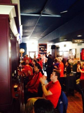 LFC Raleigh fans cheer Henderson's free kick goal to help beat Spurs 4-0