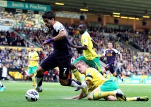 Suarez headed towards another goal at Carrow Road