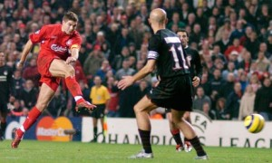 OH YOU BEAUTY!!  Gerrard scores a late one against Olympiacos in December 2004.  The Greeks could return to Anfield ten years later for Champions League
