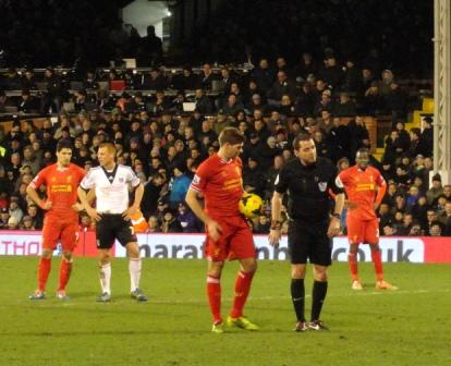 Gerrard prepares to take the PK that defeats Fulham 3-2 (photo courtesy of Ken Kendra)